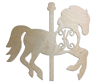 Unfinished Wood Carousel Horse Vine Monogram Door Hanger Wall Decor