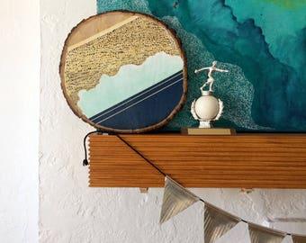Artifacts of Joy - Abstract Mist Artifact - Painting on Wood - Wood slice - Abstract art