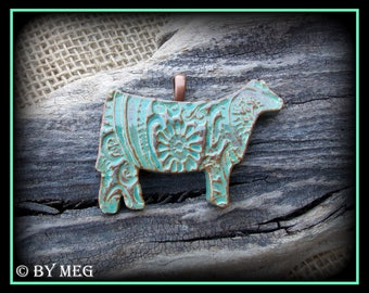 "Show Heifer, Cattle Jewelry, Kiln Fired Earthenware Pottery Ceramic Pendant Approx 2"" Wide"