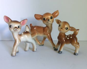 Three Ceramic Deer Figurines, Made in Japan Deer, Instant Collection