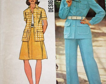 """Vintage 1970s Sewing Pattern, Simplicity 5588, Misses' Shirt-Jacket, Skirt and Pants, Misses' Size 12, Bust 34"""""""