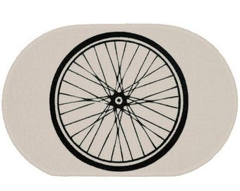 SUMMER SALE Bike Wheel White Rug - Bath Mat or Door Mat