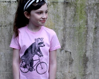 SUMMER SALE Raccoon on a Bicycle - Kids T Shirt, Children Tee, Tri Blend Tee, Handmade graphic tee, sizes 2-12