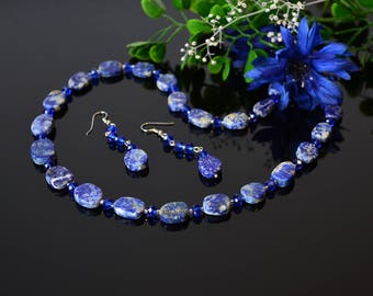 Lapis Lazuli Necklace for Women Blue Gemstone Statement Necklace Mom Gift Idea Christmas Beauty Gift Clothing Gift Beaded Necklace Coworker