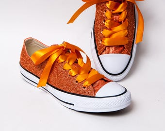 Glitter - Sedona Orange Canvas Converse All Star Low Top Sneakers Tennis Shoes with Satin Ribbon Laces