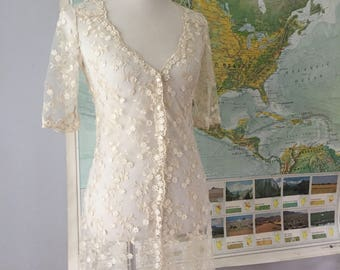 Stunning Vintage Full Length Lace Coverup