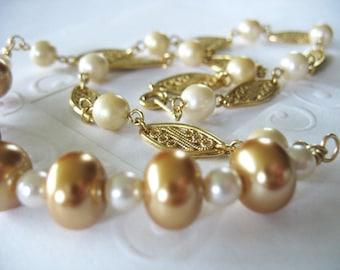Beaded Necklace, Gold Pearls, Goldtone, Filigree Links, Cream Pearls, Unique, Handmade, Bride, Wedding