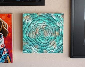Abstract Vortex Mandala, Space art, Original Painting, Original Brush and Ink Drawing by Teddy Pancake, Visionary Art, Contemporary Art #35
