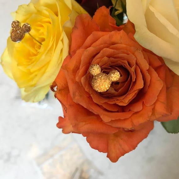 Disney Wedding-Free Ship-6 Peach Hidden Mickeys Bouquets-Wedding Floral Pins-Flower Picks-Wedding Bouquets
