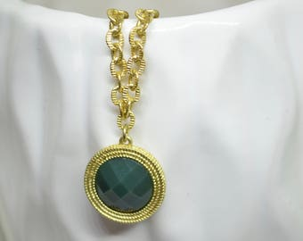 Vintage Necklace, Green Necklace, Pendant Necklace, Gold Necklace