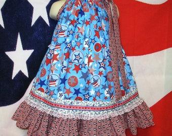 SALE Girls Dress 3T/4T 4th of July Red Blue Stars Pillowcase Dress, sundress