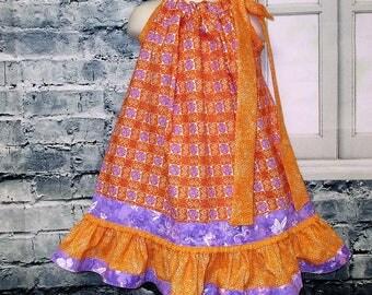 SALE Free Ship! Girls Dress 3T/4T Purple Orange Circle Dots and Butterfly Pillowcase Dress, Pillow Case Dress, Sundress, Boutique Dress