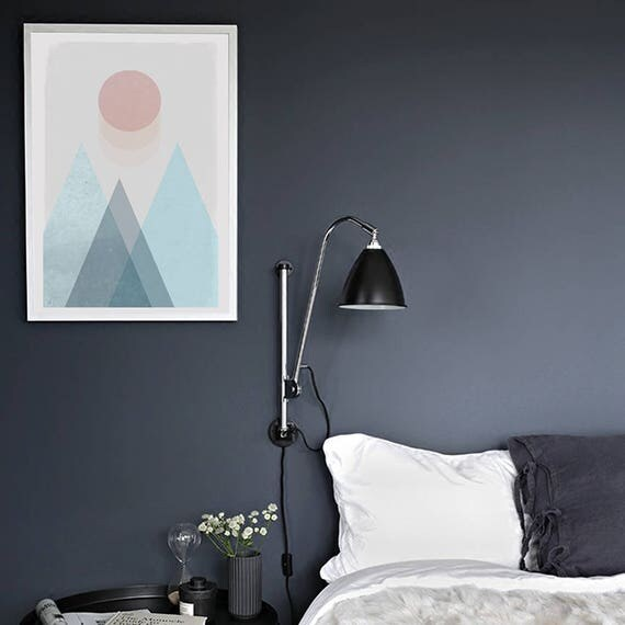 SOFT LANDSCAPE // Mid Century minimalist Poster, 24x36, geometric art, mountains, sun