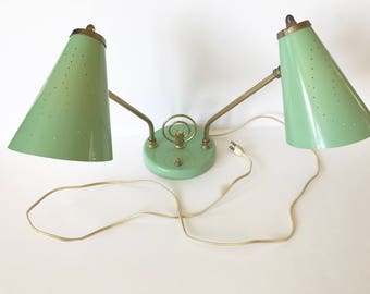 Vintage Office Desk Lamp Double Head Light Green Metal Works Perfectly