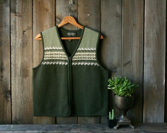 Vest Wool Army Green and Cream Womens Medium Vintage by NowVintage on Etsy