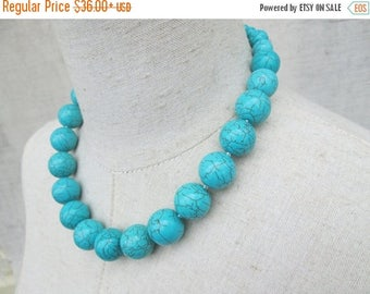 XMAS in JULY SALE Chunky Beaded Turquoise Necklace Single Strand