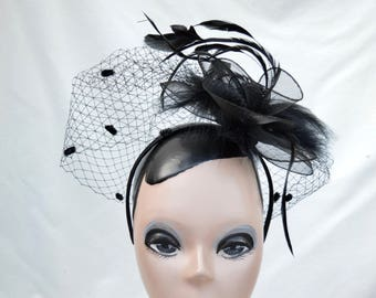 Black Feather Fascinator / Gothic Black Fascinator With Feather Trim / Victorian Inspired Black Fascinator / Black Feather Mini Hat
