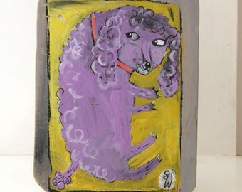Original painting on reclaimed wood of a purple poodle.