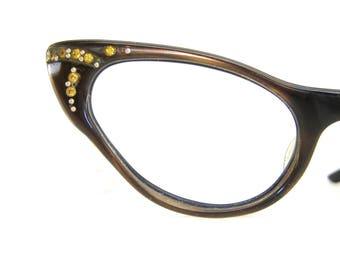 Vintage Satin Brown Cat Eye Glasses Eyeglasses or Sunglasses Frame