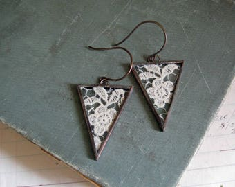 Vintage Lace Earrings, Glass Soldered Jewelry, Triangle
