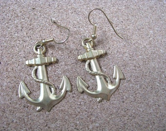 Gold tone vintage brass anchor hook earrings
