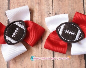 Girls Hair Bows--Red and White Football Bows