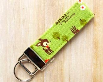 Kawaii Deer Key Ring Keychain Fabric Key Fob Japanese Fabric Fawn Deer Keyring Key Chain Key Holder Small Keyrings Fabric Key Fobs