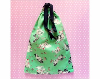 Retro Gift Bag Kitties Puppies Drawstring Bag Kawaii Pouch Sweet Lolita Mint Pink Kitty Cat Pouch Small Purse Makeup Bag Vintage Style