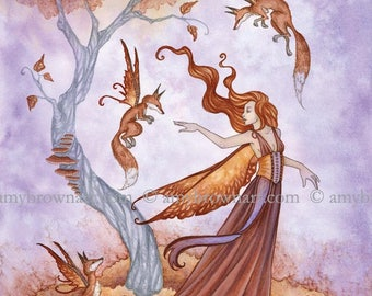 8X10 Autumn Companions fairy PRINT by Amy Brown