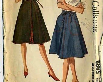 ChristmasinJuly Vintage 60s McCalls 6665 Misses Wrap Skirt Sewing Pattern Size Medium Waist 26-28