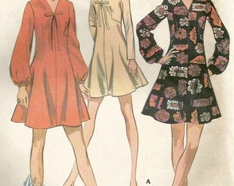 ChristmasinJuly Vintage 60s McCalls 2057 Misses FIt and Flare Long Sleeve Dress with Shaped Darts Sewing Pattern Size 10 Bust 32.5
