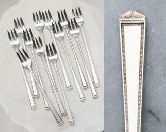 12 Vintage Cocktail Forks / 1923 Anniversary Pattern / Holiday Entertaining / Antique Silver Plate Flatware / Seafood Forks