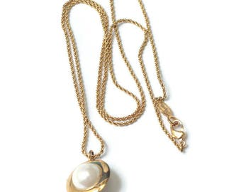 Faux Pearl Pendant Necklace Modernist Orb Signed Napier Gold Tone Chain Vintage