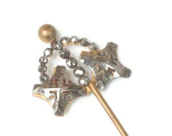 Antique Cut Steel Hat Pin  Hair Pin 5 Inches Long Victorian