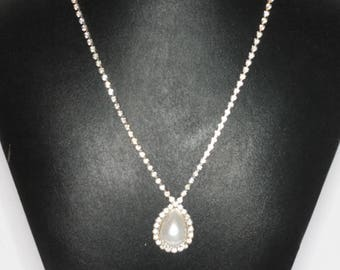 Clear Rhinestone Choker Necklace Faux Pearl Drop Vintage