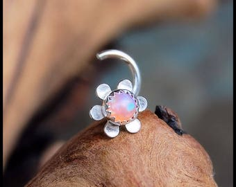Hippy Flower Child Boho Pink Opal Daisy Nose Stud in Sterling Silver - CUSTOMIZE