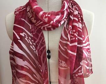 Devore Cut Satin Scarf (silk and rayon) - Bordeaux