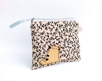 Zipper pouch, coin purse cat, floral coin purse, cute pouch, coin pouch, pouch, school supplies, teens gift, gift for sister, organise