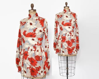 Vintage 60s Mini DRESS / 1960s Bold Floral Balloon Sleeve Micro Mini Dress XS