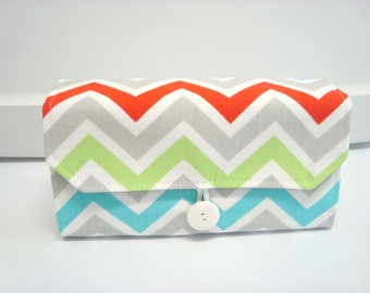 Cash Envelope Wallet  / Dave Ramsey System / Zipper Envelopes - Harmony Chevron Zig Zag