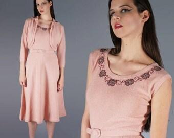 Pink Sweater Dress Beaded Nubby Knit Dress with Matching Bolero Jacket 50s Dress