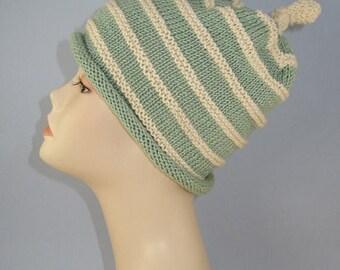 40% OFF SALE Instant Digital File pdf download knitting pattern - Stripey Roll Brim Topknot Slouch Hat