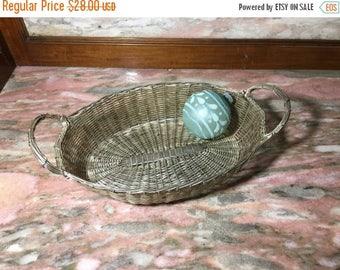 "Christmas Sale Vintage Silver Metal Woven Basket With Handles 10"" Mesh"