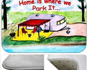 Home is where we park it, retro air stream camper by the lake travel trailer kitchen or bathmat from my art