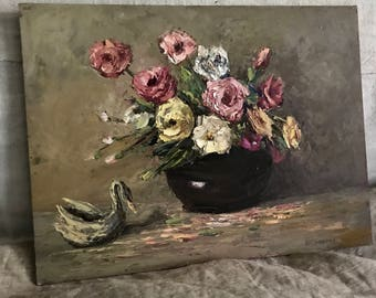 Oil painting, Roses oil painting, antique, French Home, French Cottage.