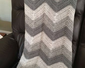 "chevron ripple couch throw afghan blanket baby shawl wrap 42"" x 46"" crochet knit wheelchair striped VANNA WHITE yarn gray grey made in USA"