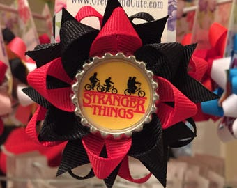 Stranger Things 11 Mike Dustin Eleven Lucas on bicycles The Upside Down Bottle Cap Hair Bow a CREEPY and CUTE creation layered boutique bow