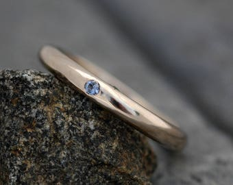 Gold Stacking Ring with Flush Set Yogo Gulch Sapphire- 18k Recycled White Gold Reserved Order