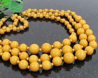 Vintage FAUX BAKELITE PLASTIC Bead Necklace Three Strand Butterscotch Beads