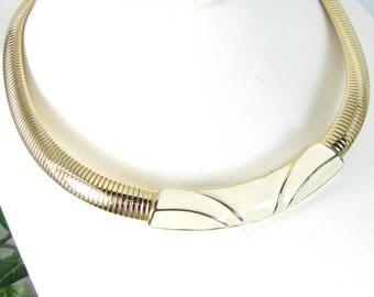 Vintage Trifari Ivory Enamel Necklace Gold Tone Snake Chain Designer Signed